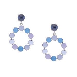 INAstyle I Silber-blauer Steckerohrring CINDERELLA mit Cateye!