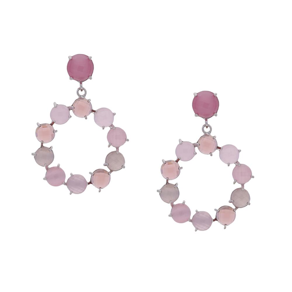 INAstyle I Silber-rosa Steckerohrring CINDERELLA mit abgerundeten Cateye Steinen!