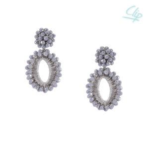 INAstyle I Silbergrauer Ohrclip ELLI mit Glaskristallen und glänzendem Garn!