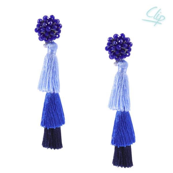 INAstyle I Blauer Ohrclip FLAVIA mit Quasten und Glaskristallen!