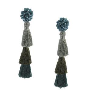 INAstyle I Grüner Tassel-Ohrring FLAVIA mit Glaskristallen und drei unterschiedlich eingefärbten Quasten!