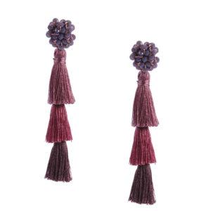 INAstyle I Tassel-Ohrring FLAVIA in Purple mit Glaskristallen und drei unterschiedlch eingefärbten Quasten!