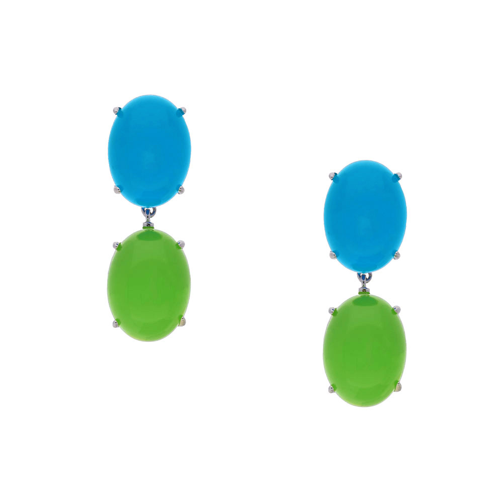 INAstyle I Blau-hellgrüner Steckerohrring KATE aus rhodiniertem 925er-Silber!