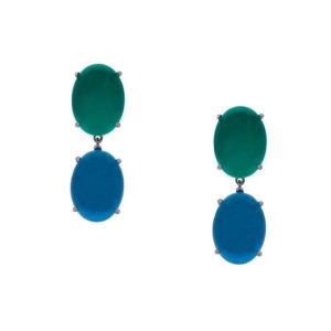 INAstyle I Blau-grüner Steckerohrring KATE aus rhodiniertem 925er-Silber!