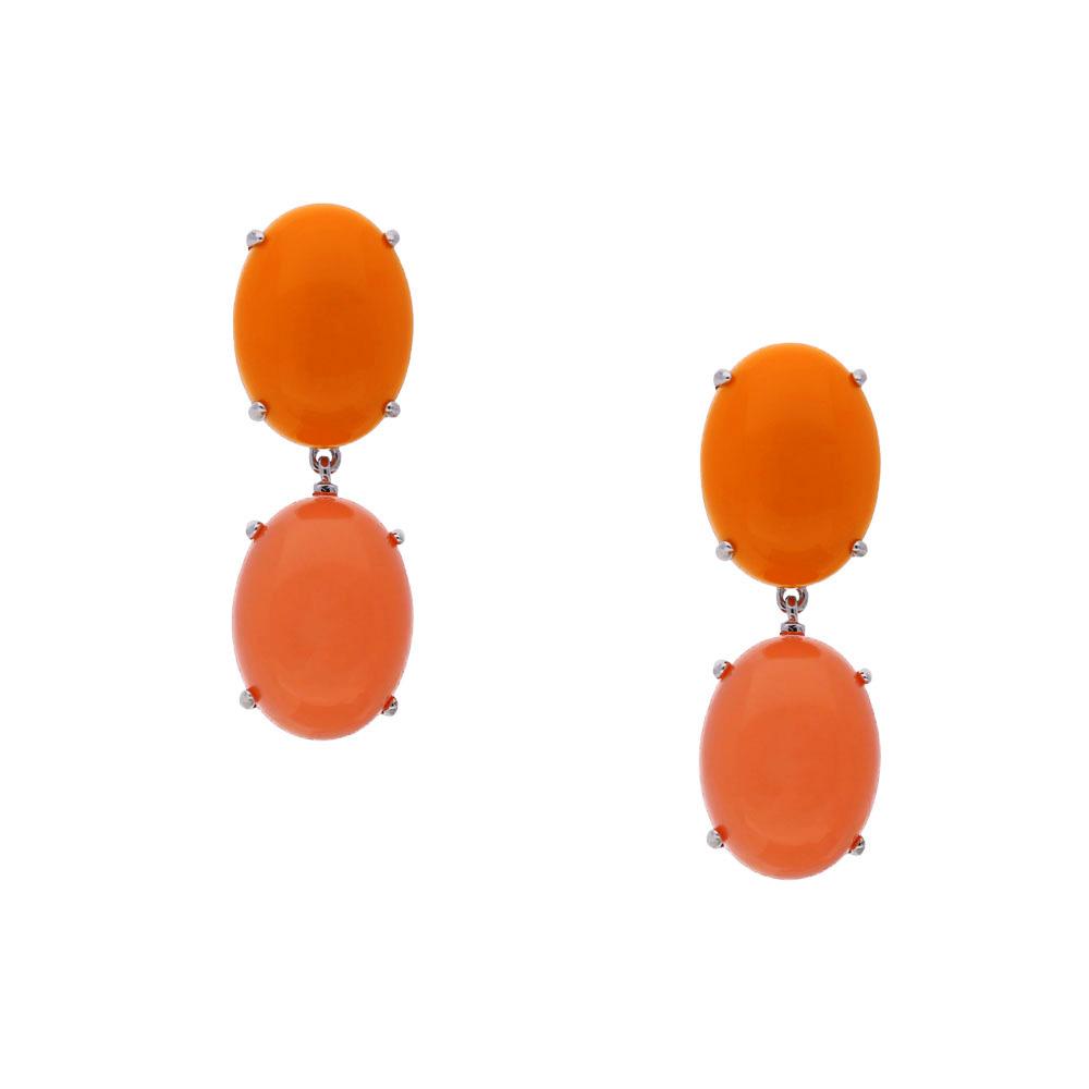 INAstlye I Steckerohrring KATE aus rhodniniertem Silber in Orange