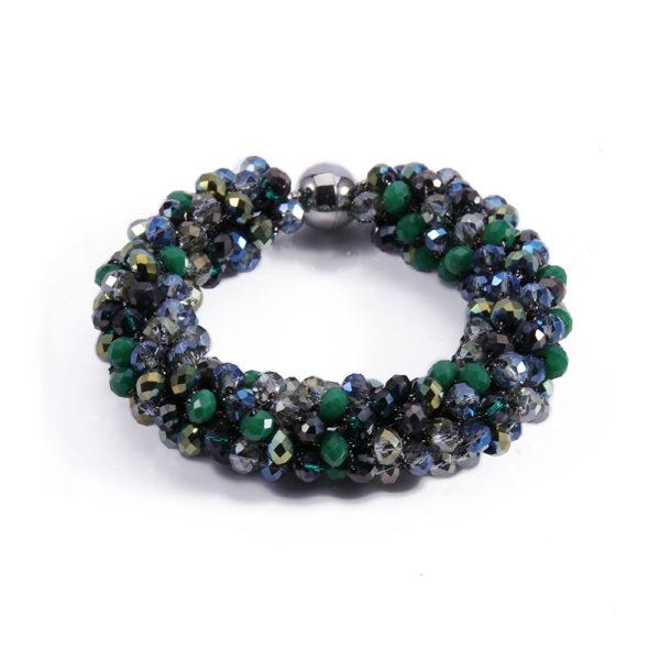 INAstyle I Grünes Armband MAGNIFICA mit Glaskristallen und Magnetverschluss!
