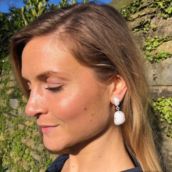 INAstyle I Weißer Steckerohrring PAULINE mit Perlmutt und Zirkonia Steinen!