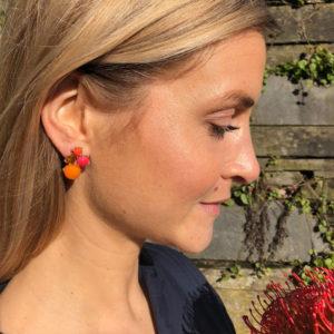 INAstyle I Orange-roter Steckerohrring RELLA mit Cateye Steinen!