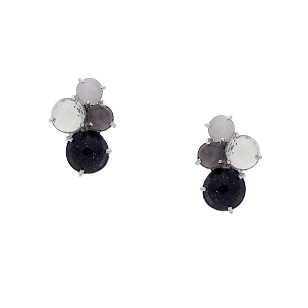 INAstyle I Schwarz-grauer Steckerohrring RELLA mit unterschiedlich farbigen Cateye Steinen!