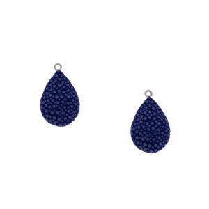 INAstyle I Blauer Rochenleder Anhänger ROCCICHI mit Öse aus rhodiniertem 925er-Silber!