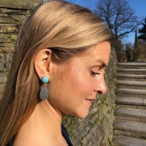 INAstyle I Türkis-grauer Steckerohrring ROYA aus Rochenleder, 925er-Silber und Amazonit!