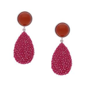 INAstyle I Orange-pinker Steckerohrring ROYA aus Rochenleder, Achat und 925er-Silber!
