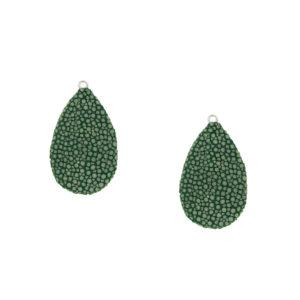 INAstyle I Grüner Rochenleder Anhänger ROYACHI mit kleiner Öse aus rhodiniertem 925er-Silber!