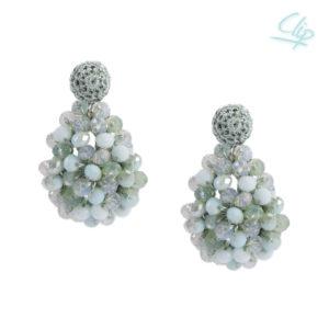 INAstyle I Hellgrüner Ohrclip SHARON mit unterschiedlich farbigen Glaskristallen!