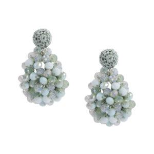 INAstyle I Hellgrüner Steckerohrring SHARON mit unterschiedlich farbigen Glaskristallen!