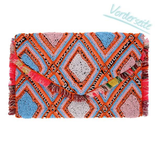INAstyle I Boho-Clutch in Hellblau, Orange, Weiß und vielen weiteren Farben mit Rautenmuster und Fransen!