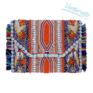 INAstyle I Rundum bestickte Boho-Clutch namens ALOHA, die mit ihren orange und blauen Perlen sowie bunten Fransen punktet!