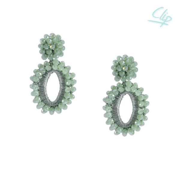 INAstyle I Der stylische Ohrclip ELLI in Mint besteht aus rhodiniertem Kupfer, Garn und Glaskristallen!