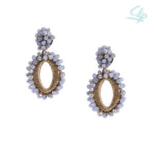 INAstyle I Grauer Ohrclip ELLI mit Glaskristallen und gold-glänzendem Garn!