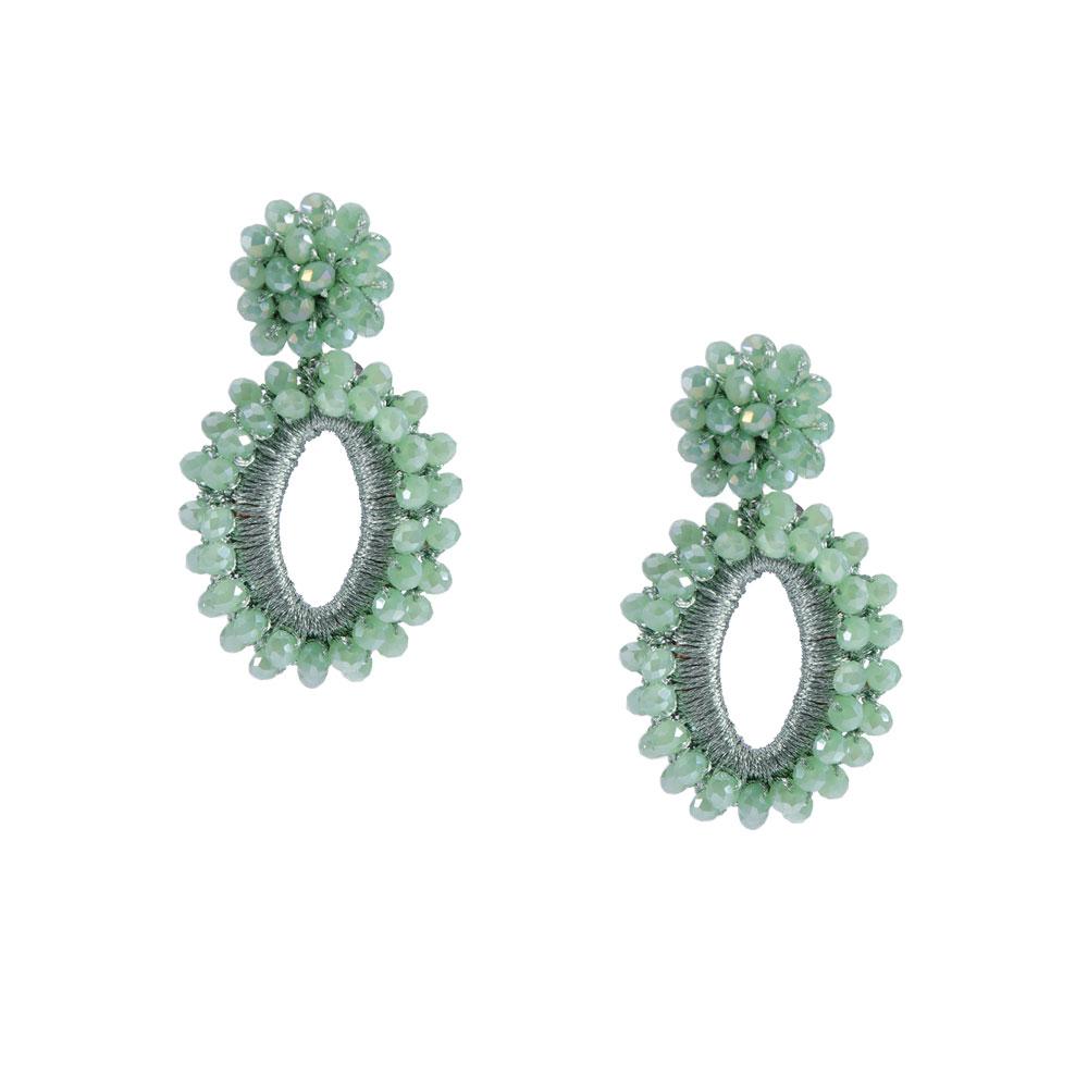 INAstyle I Steckerohrring ELLI in Mint bzw. Hellgrün mit Glaskristallen und glänzendem Garn!