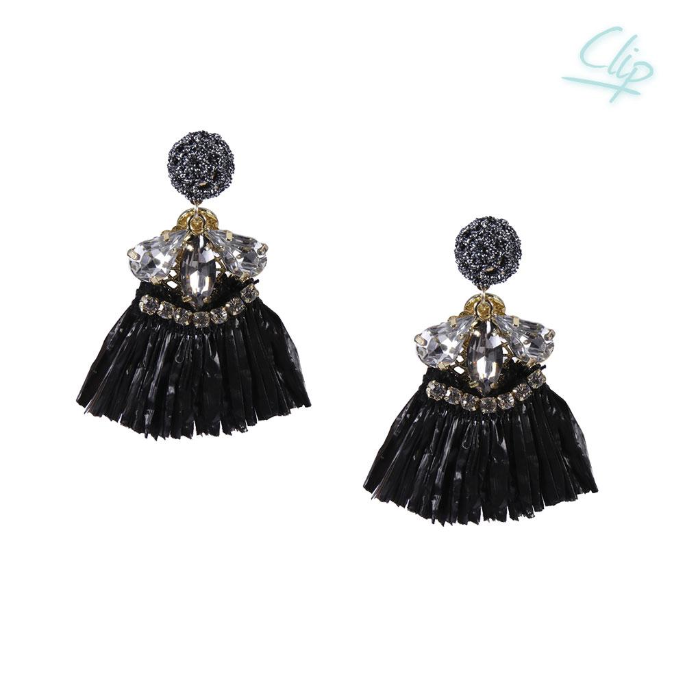 INAstyle I Ohrclip HULA mit schwarzem Bast-Röckchen, Glaskristallen und Zirkonia Steinen!