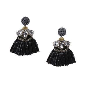 INAstyle I Steckerohrring HULA mit schwarzem Baströckchen, Glaskristallen und Zirkonia!