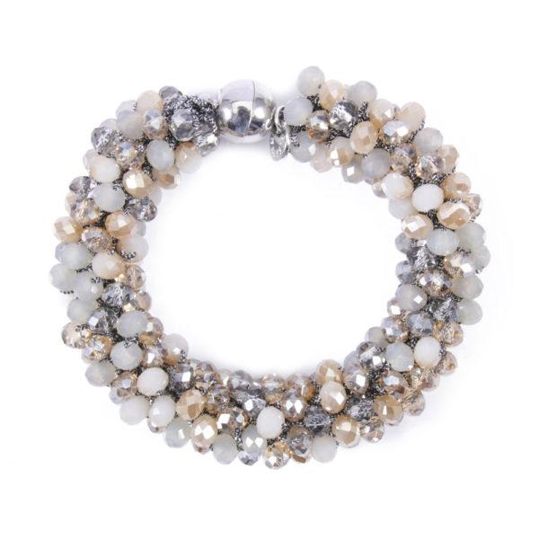 INAstyle I Graues Armband MAGNIFICA aus Garn und Glaskristallen mit praktischem Magnetverschluss!