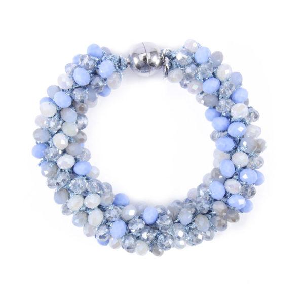 INAstyle I Hellblaues Armband Magnifica aus Garn und Glaskristallen mit praktischem Magnetverschluss!