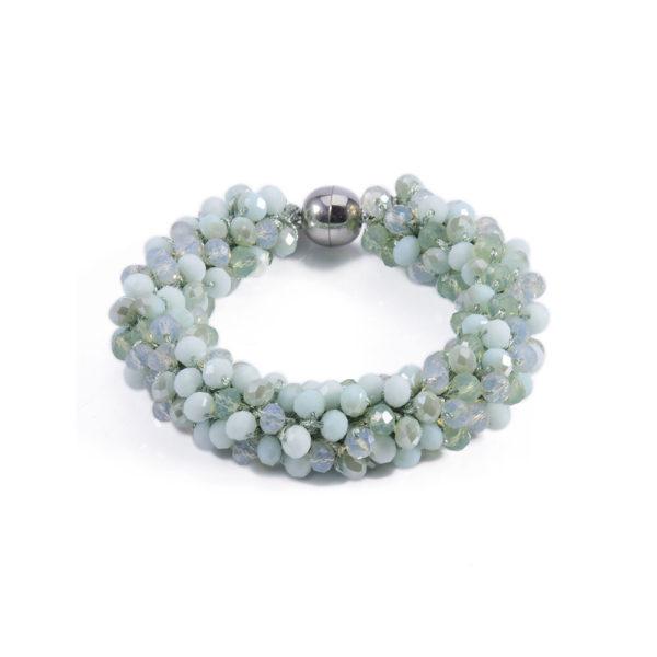 INAstyle I Hellgrünes Armband MAGNIFICA aus Glaskristallen mit einem silbernen Magnetverschluss!