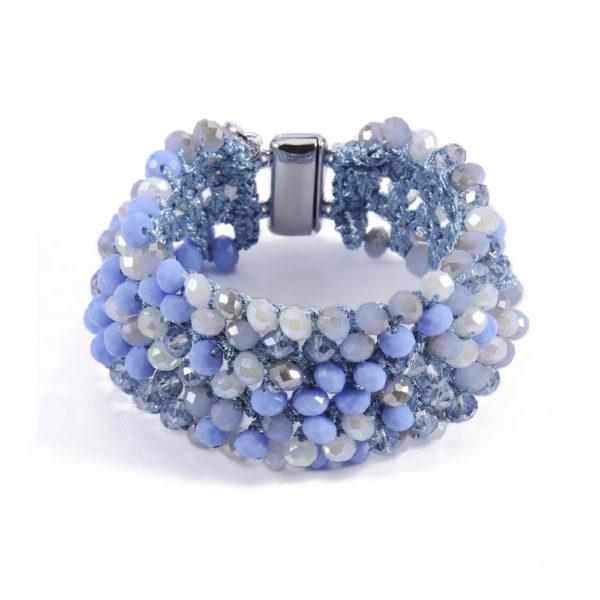 INAstyle I Breites Armband MARCELLA mit hellblauen, creme- und champagnerfarbenen Glaskristallen und silber Magnetverschluss!