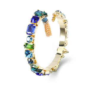 INAstyle I Armreif Roxanna in Blau und Gold sowie Grün aus Messing und Glaskristallen mit einem kleinen Anhänger!