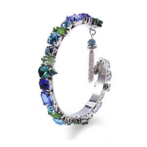 INAstyle I Armreif Roxanna in Blau und Grün aus Messing, Glaskristallen und Zirkonia!