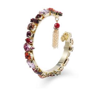 INAstyle I Gold-roter Armreif ROXANNA mit Glaskristallen und kleinem Anhänger!