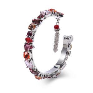 INAstyle I Armreif Roxanna in Pink aus Messing, Glaskristallen und Zirkonia-Steinen!