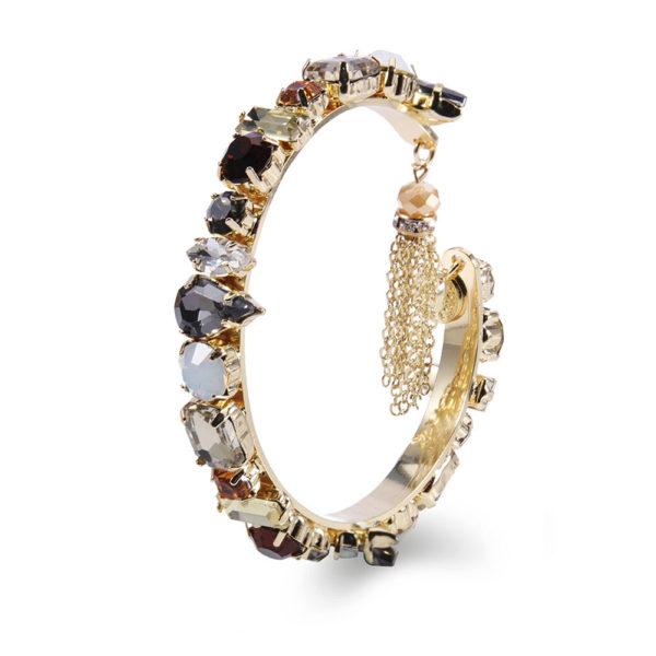 INAstyle I Goldfarbener Armreif ROXANNA mit schwarzen, grauen und weißen Glaskristallen!