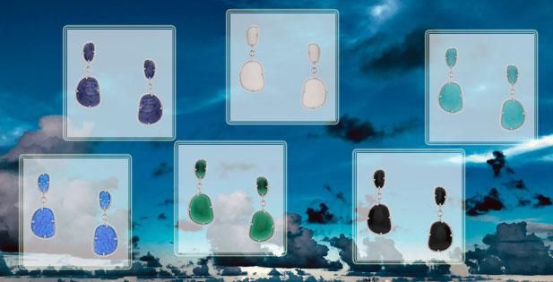 INAstyle elegante Ohrringe PAULINE mit Halbedelsteinen und Zirkonia Steinen