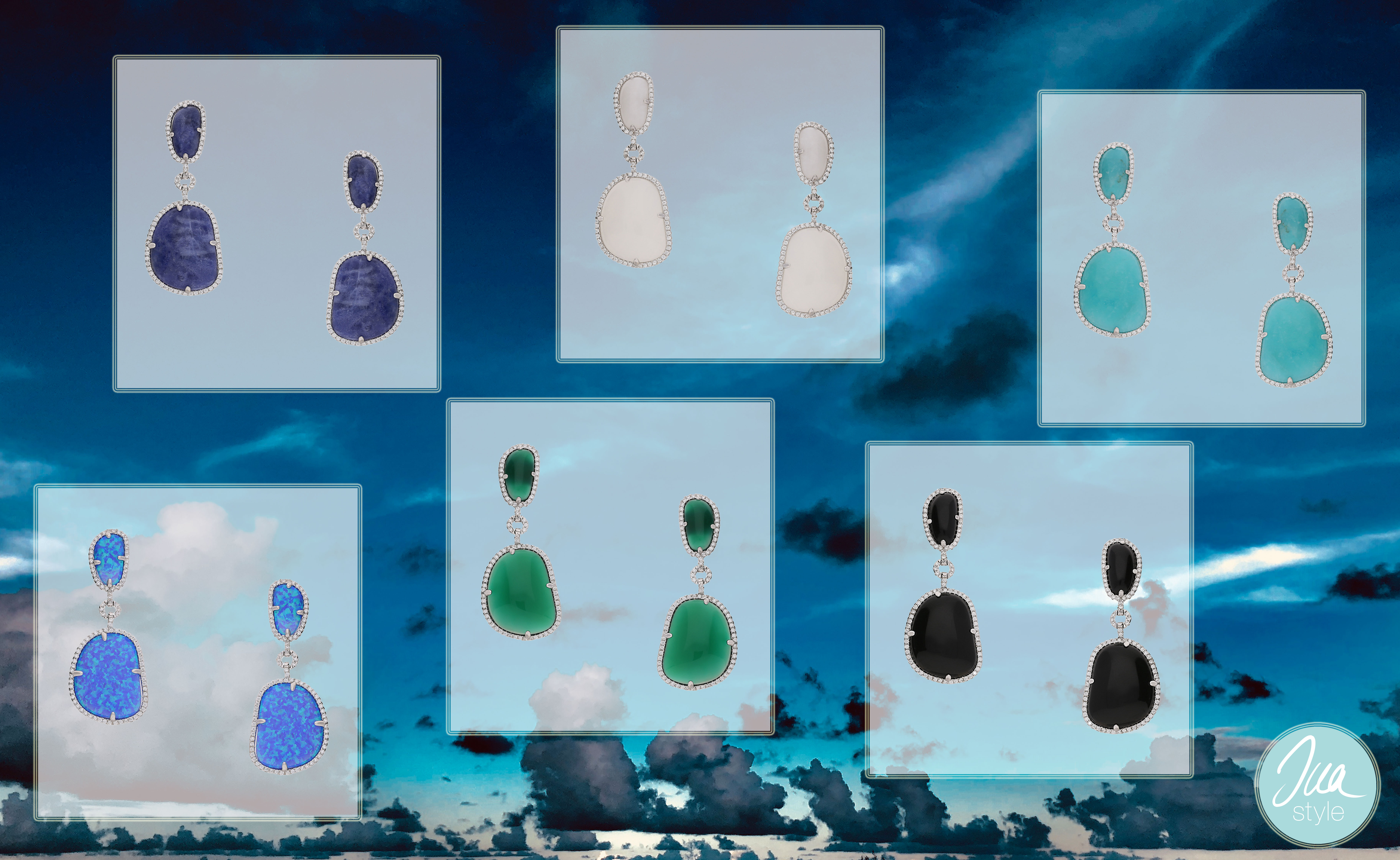 Elegante Ohrringe von INAstyle mit Halbedelsteinen und Zirkonia - unterschiedliche Farben!