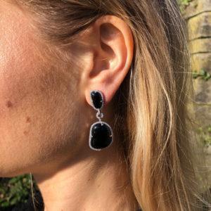 INAstyle elegante Ohrringe in Schwarz mit Halbedelsteinen und Zirkonia
