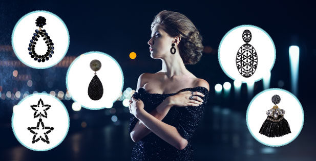 INAstyle I Schwarze Ohrringe aus Zirkonia, Silber, Rochenleder und Glaskristallen