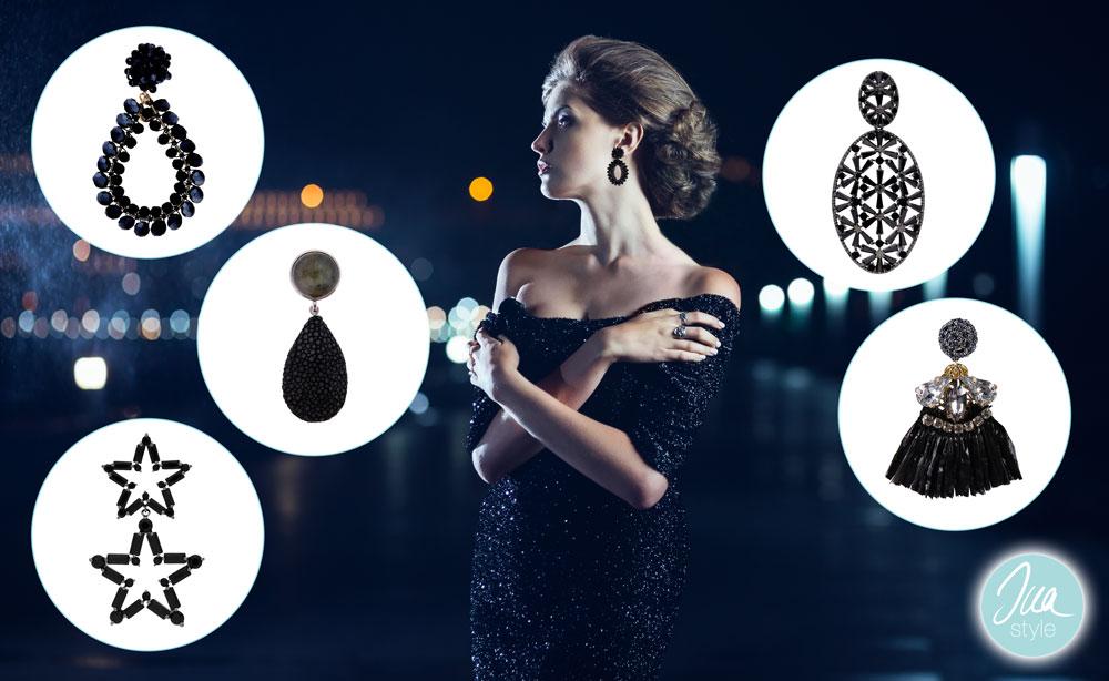 Schwarze Ohrringe von INAstyle aus Silber, Zirkonia, Glaskristallen und Rochenleder