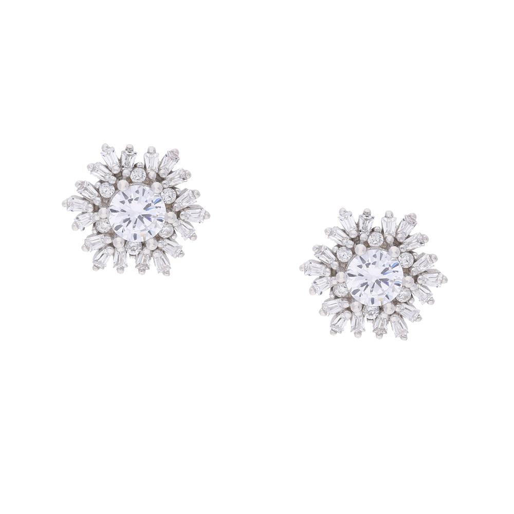 INAstyle Steckerohrring CORALIE in Blumenform - aus rhodiniertem Silber und mit kleinen Zirkonia Steinen besetzt