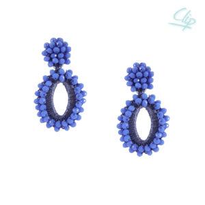 INAstyle I Ohrclip Elli in Blau mit glänzendem Garn und Glaskristallen!