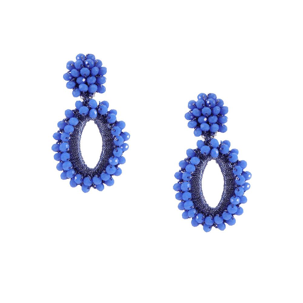 INAstyle I Steckerohrring Elli in Blau mit glänzendem Garn und Glaskristallen!