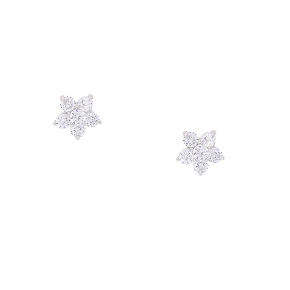 INAstyle Steckerohrring FABULOSA in Blumenform aus 925er-Silber und Zirkonia