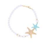 INAstyle Sommer Schmuck Halskette MARINA Weiss Tuerkis Gold