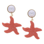 INAstyle Sommer Schmuck Ohrringe Seestern Rot Gold Weiss