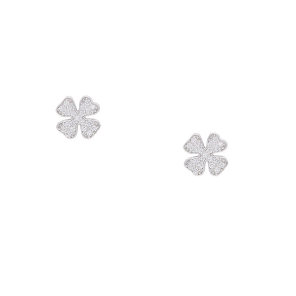 INAstyle Steckerohrring LU - vierblättriges Kleeblatt aus 925er-Silber und Zirkonia Steinen