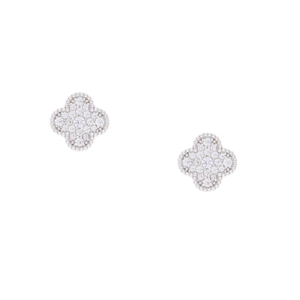INAstyle Steckerohrring LUCI aus Silber mit Zirkonia Steinen besetzt