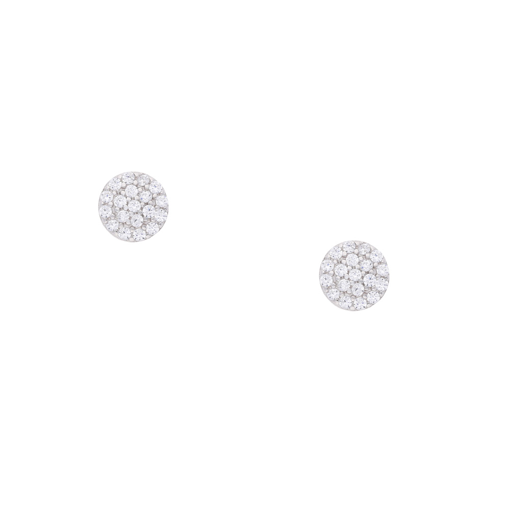 INAstyle Steckerohrring MINA - kleiner und runder Ohrstecker aus Silber und Zirkonia Steinen