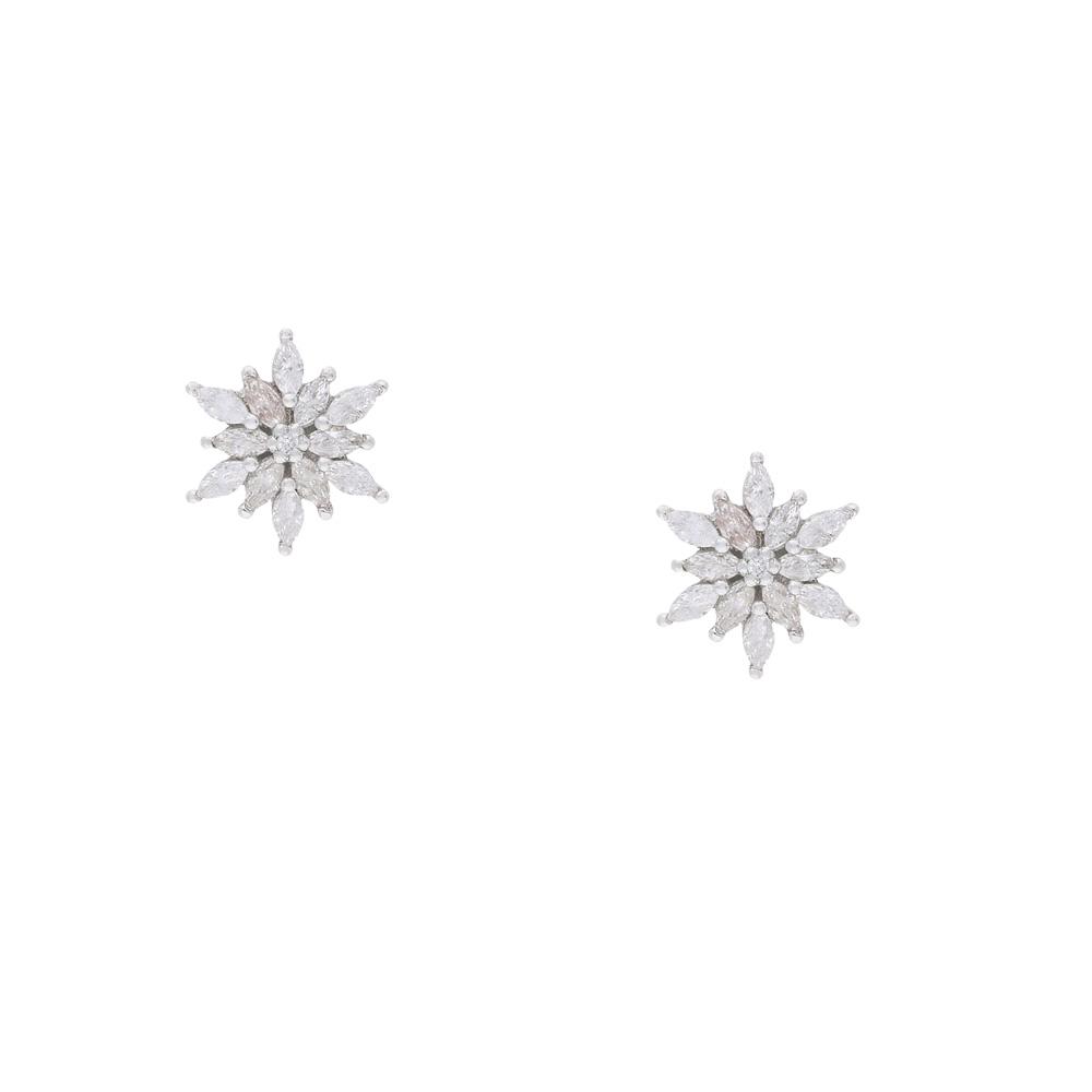 INAstyle Steckerohrring ROSI - Edelweiß aus 925er-Silber sowie Zirkonia
